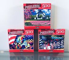 Lot of 3 Puzzlebug Jigsaw Puzzles 500 Piece Puzzle Tulips Lighthouses Balloons