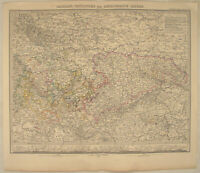 SACHSEN Thüringen BÖHMEN RIESEN Stieler Landkarte 1873 DRESDEN Bayern Bamberg