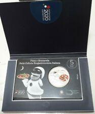 ITALIA moneta 5 € euro argento Fdc Pizza e Mozzarella serie Enogastronomica