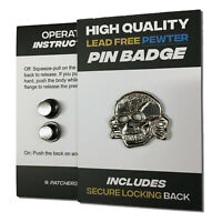 Toxic Skull High Quality Pewter Pin Badge with Secure Locking Backs