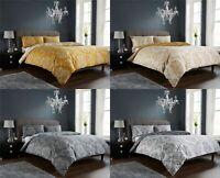 Royal Damask Duvet Quilt Cover Set, Bed Linen Double King Size, Grey Gold(LW)
