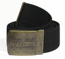 CINTURA IN TELA ELASTICA NERA FINO 150 CM FIBBIA MILITARE GREEN BAY UOMO DONNA