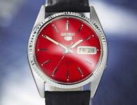 Seiko 5 Day Date 21J Mens Vintage 36mm Automatic Japanese Watch c1970s J7057