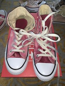 New Converse Chuck Taylor All star High Top Bleached Pink Maroon Sz M 6 W 8