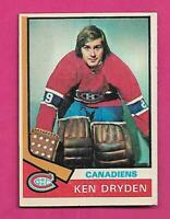 1974-75 TOPPS # 155 CANADIENS KEN DRYDEN  VG+  CARD (INV# D1033)