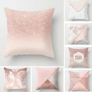 Rose Gold Cushion Cover Pink Grey Geometric Marble Pillow Case Sofa Room Decor