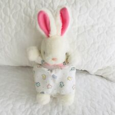 Vtg Carters White Bunny Rabbit Small Plush Stuffed Baby Toy Pastel Sheep Dress