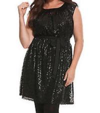 Lane Bryant  sexy  round neck self tie sash black sequined dress size 14/16