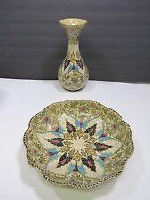 Molaroni Pesaro Pottery Bowl and Vase Italy Italian Hand Painted Stunning