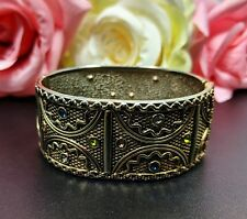 Lovely Vintage Rhinestones Gold Tone Hard Hinged  Bangle Bracelet