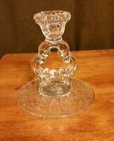 Beautiful Vintage Cambridge Rose Point Keyhole Candlestick