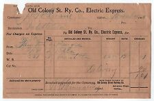 1908 OLD COLONY STREET RAILWAY COMPANY Electric Express MIDDLEBORO MASSACHUSETTS