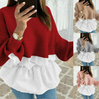Women Long Sleeve Frill Ruffle Top Lady Casual Loose Pullover Shirt Blouse 998