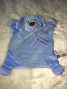 Babies R Us My First Blankie Plush Security Blanket Blue Corduroy Lovey Puppy