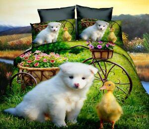 Single Duvet Quilt Cover Puppy with Duck Girls Kids Childrens Bedding Set