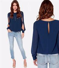Sexy Womens Loose Chiffon Tops Long Sleeve Shirt New Fashion Casual Blouse