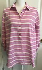 LANDS END Womens Popover SHIRT Purple Pink Stripe 3/4 Sleeves Size 14W