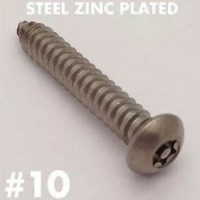 (25/pk) 10 x 3 Button Head Torx Tamper Proof Sheet Metal Screw ZINC