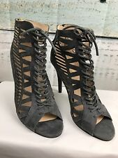 NINE WEST GRAY SUEDE CUT OUT OPEN TOE LACE UP BOOTY ZIPPER BACK HEELS 8M New