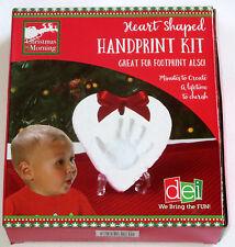 Heart Shaped Handprint Kit Keepsake Memory DIY Clay Tool Ribbon Foot Print