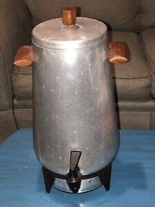 Vintage Wear-Ever Hall-ite Electric Coffee Maker Pot Percolator Aluminum 30 Cup