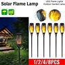 1-8x 12LED Solar Fackel Garten Licht Tanzen Flackernde Flamme Landschaft lampe