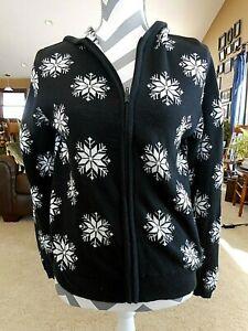 Snowflakes Hooded Sweatshirt Sweater Zipper Black White Classic Elements Medium