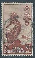 1938 AOI USATO SOGGETTI VARI POSTA AEREA 5 LIRE  - RR2673