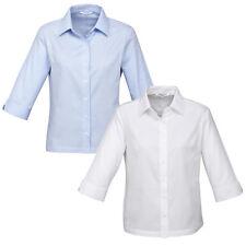 Ladies Luxe 3/4 Sleeve Shirt 100% Premium Cotton Business Corporate New S10221