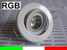 BIANCO RGB FARETTO LED INCASSO 30° GU10 3W CAMBIACOLORE + TEL.