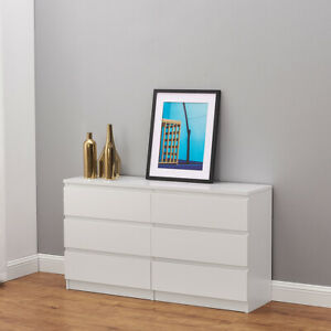 MODERN - White Large Chest Of Drawers 6 Draw, Wide 120 cm - Matt finished UK