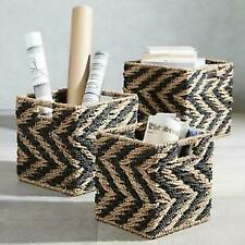 Set of 3  Square Woven Natural Zig Zag  Water Hyacinth Storage Baskets RRP£33.99