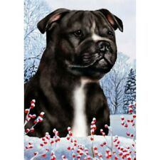 Winter Garden Flag - Black and White Staffordshire Bull Terrier 152311