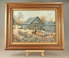 Vintage Oil Painting of Old Truck , Old Building, Flowers by ALICE TILL 26 X 32