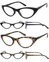 Retro Womens Cat Eye Full Lens Reading Glasses Spring Hinges Black or Leopard