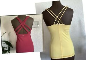 2- Lululemon Free To Be/Enhearten Tank Tops Size 6. Yellow/pink Berry.