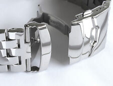 HEAVY 22mm Solid 316L stainless Steel Watch Bracelet ALL POLISHED MIRROR FINISH