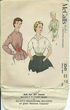 M 3243 sewing pattern 50's classy BLOUSE SHIRT sew short long sleeves size 12/30