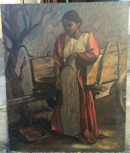 Vintage MCM Oil Painting Abstract Realism Peasant Girl Forrest Cooper Listed