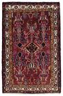Vintage Tribal Oriental Luri Rug, 5' x 7', Wine/Ivory, Hand-Knotted Wool Pile