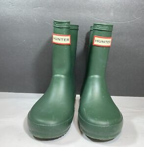 Hunter Boots Green Rubber Rainboots Boys 7 Girls 8