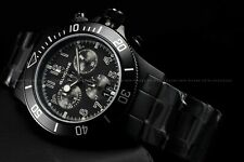 "Glycine Men 42mm Combat Sub Sapphire Chrono ""SWISS MADE"" Triple Black Watch 1001"