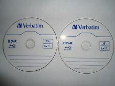 2 x Verbatim 25 GB 6x Blu-ray Single Layer Recordable Disc BD-R (Total = 50GB)