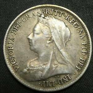 1898 Great Britain 6 Pence Sixpence Silver Coin VICTORIA KM# 779
