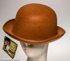 Derby Hat Light Brown Pressed Felt Victorian Era Gentleman's Dapper Costume Hat