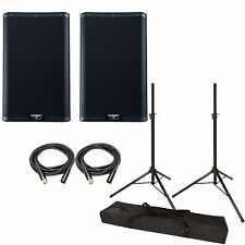 "QSC K10.2 Active 10"" Loudspeaker Pair w/ Speaker Stands and Cables K10 V2 NEW"