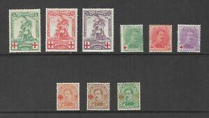Belgium - 1914 RED CROSS set SG 151-6 mint Cat £100 + few from 1918