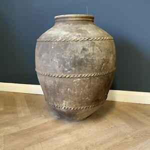 Antique Large Pot Rare Turkish Pottery Big Olive Oil Jar Big Pots Terracotta Art