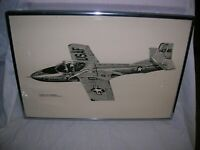 Vintage Pen and Ink Drawing Framed, signed and number of a Cessna T37 Trainer