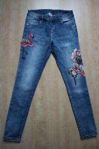 ***Ausgefallene Jeans***blau***Flamingo***Blumen***Perlen***Strass***Gr. S***